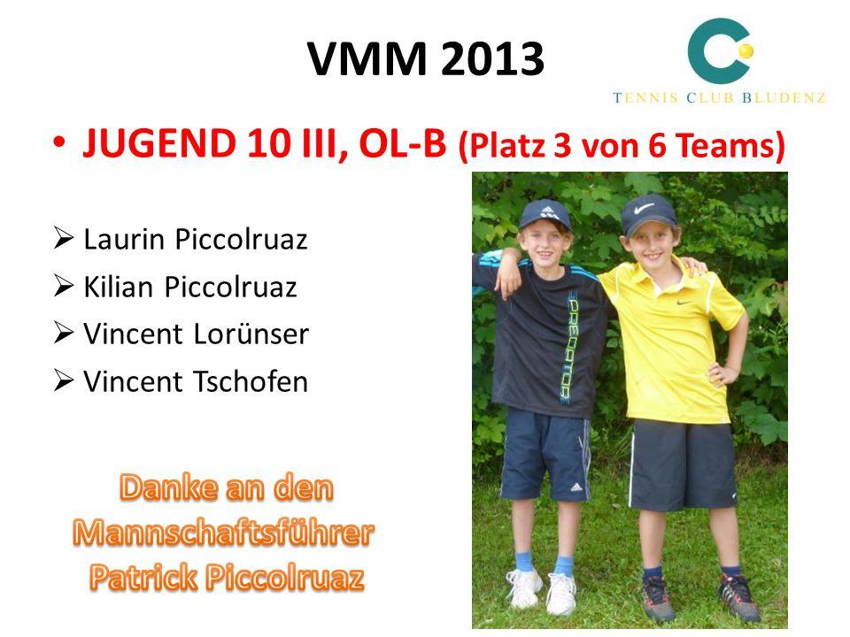 VMM 2013 JUGEND 10 III, OL-B (Platz 3 von 6 Teams) Danke an den