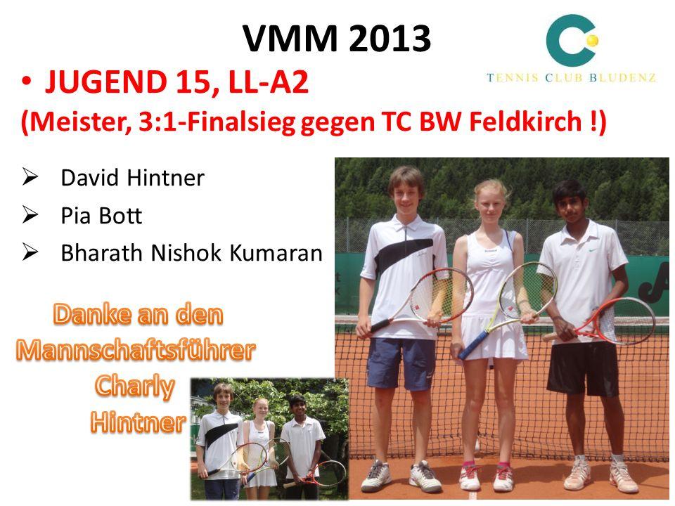 VMM 2013 JUGEND 15, LL-A2. (Meister, 3:1-Finalsieg gegen TC BW Feldkirch !) David Hintner. Pia Bott.