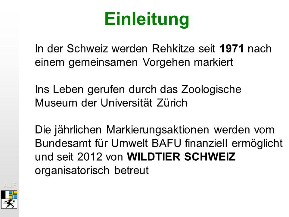 Einleitung In der Schweiz werden Rehkitze seit 1971 nach einem gemeinsamen Vorgehen markiert.