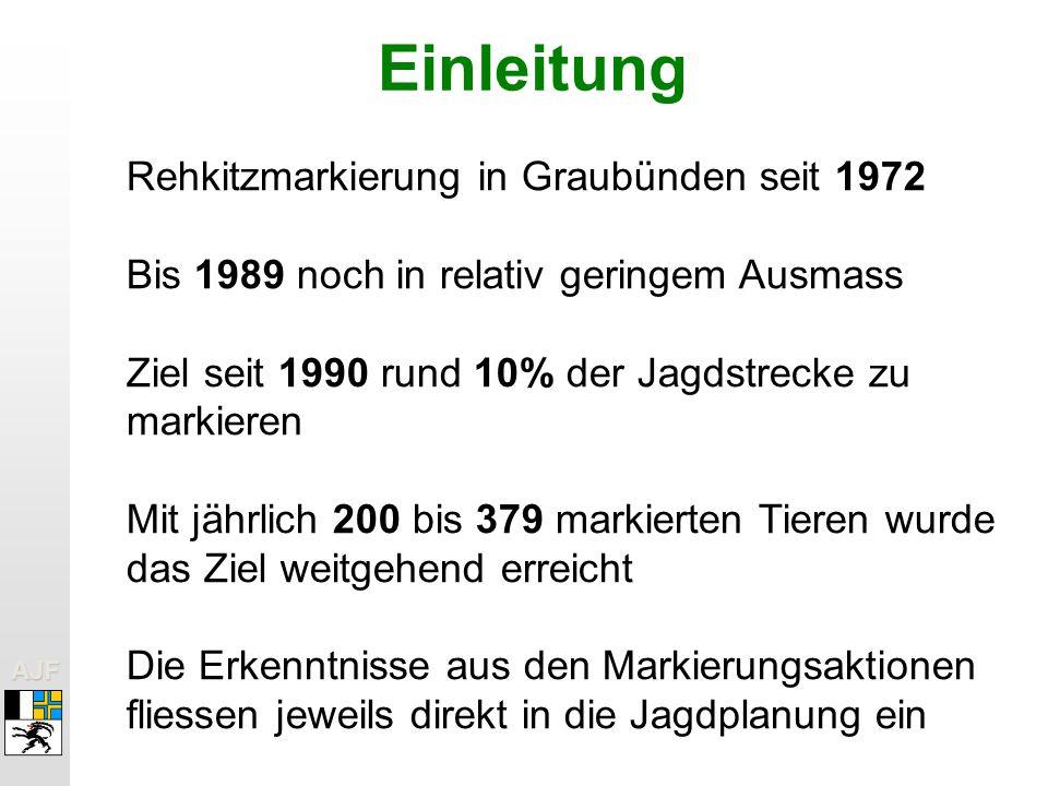 Einleitung Rehkitzmarkierung in Graubünden seit 1972