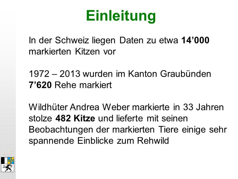 Einleitung In der Schweiz liegen Daten zu etwa 14'000 markierten Kitzen vor. 1972 – 2013 wurden im Kanton Graubünden 7'620 Rehe markiert.