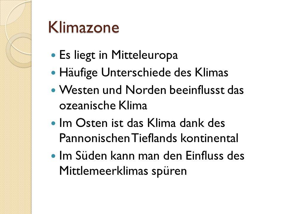 Klimazone Es liegt in Mitteleuropa Häufige Unterschiede des Klimas