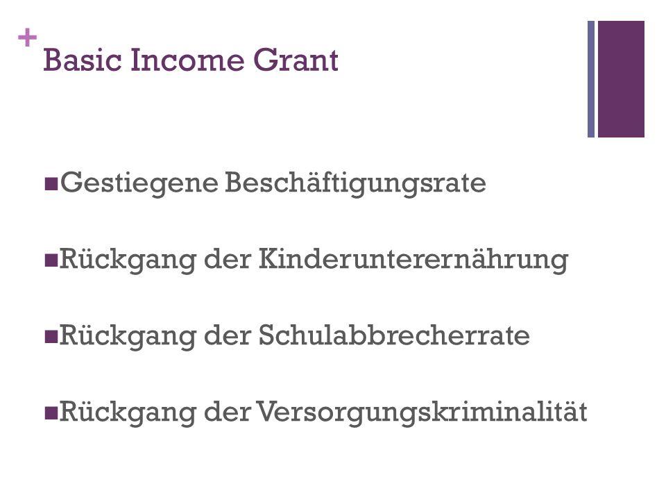 Basic Income Grant Gestiegene Beschäftigungsrate