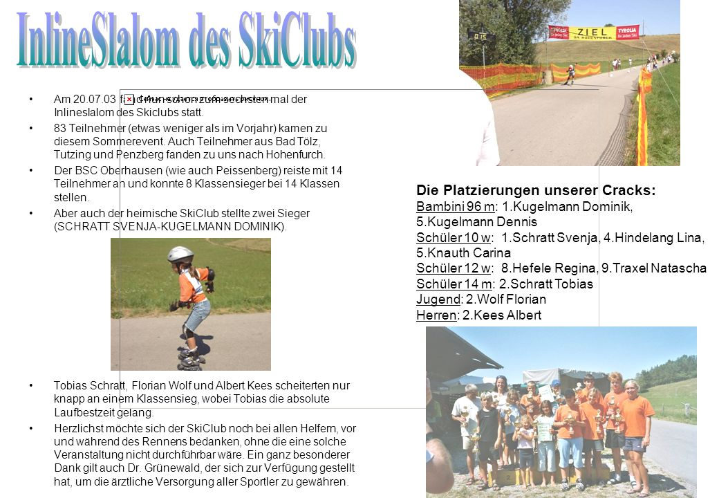 InlineSlalom des SkiClubs