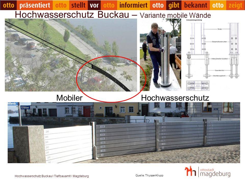 Hochwasserschutz Buckau – Variante mobile Wände