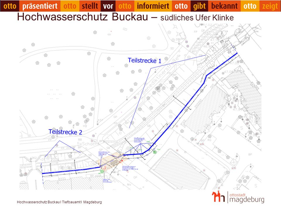 Hochwasserschutz Buckau – südliches Ufer Klinke