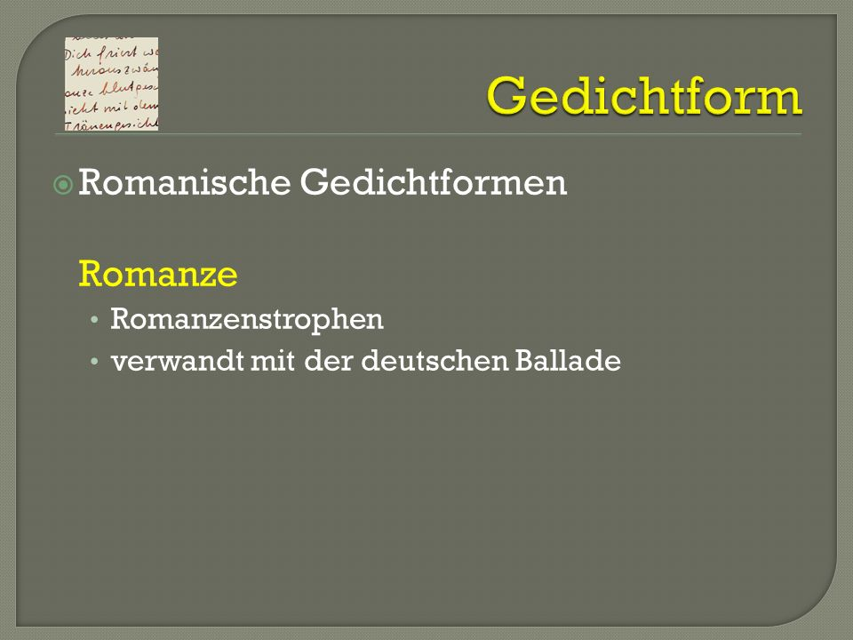 Gedichtform Romanische Gedichtformen Romanze Romanzenstrophen