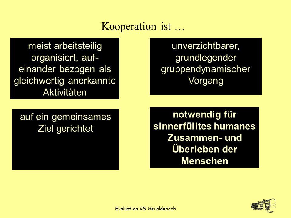 Kooperation ist … meist arbeitsteilig organisiert, auf-einander bezogen als gleichwertig anerkannte Aktivitäten.