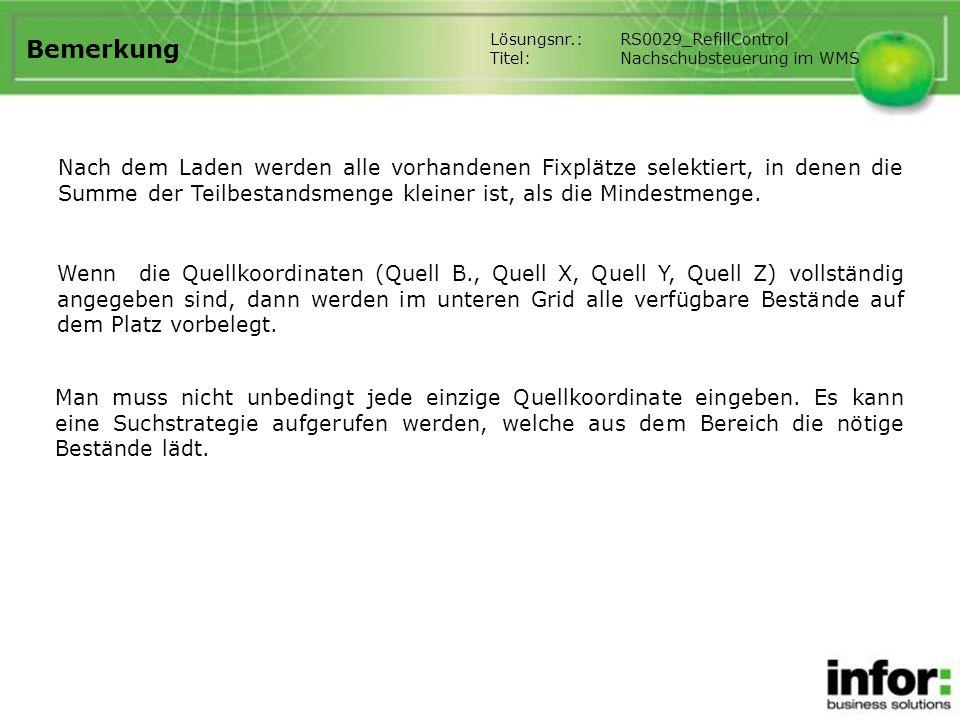 Bemerkung Lösungsnr.: RS0029_RefillControl. Titel: Nachschubsteuerung im WMS.