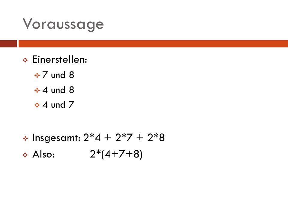 Voraussage Einerstellen: Insgesamt: 2*4 + 2*7 + 2*8 Also: 2*(4+7+8)