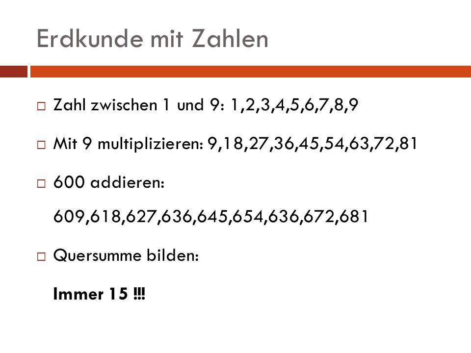 Erdkunde mit Zahlen Zahl zwischen 1 und 9: 1,2,3,4,5,6,7,8,9