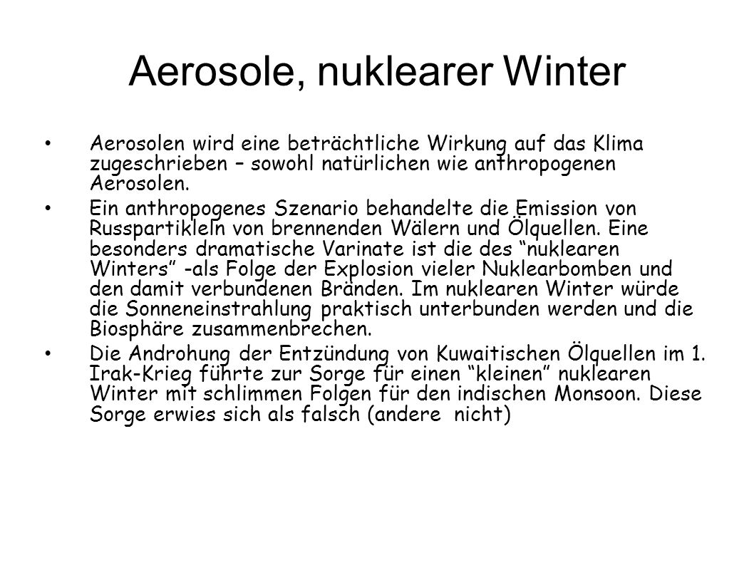 Aerosole, nuklearer Winter