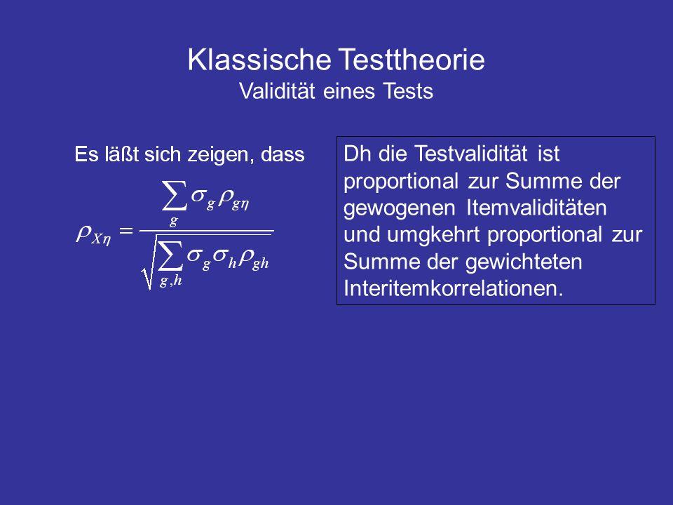 Klassische Testtheorie Validität eines Tests