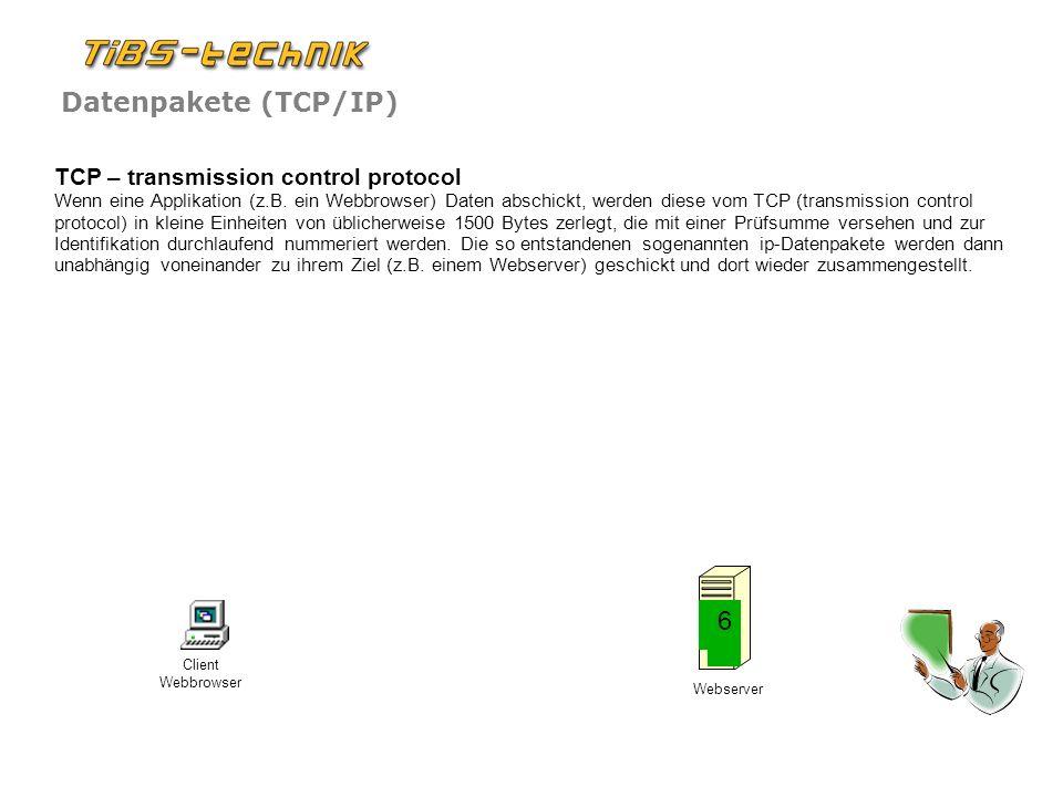 TCP – transmission control protocol Wenn eine Applikation (z. B