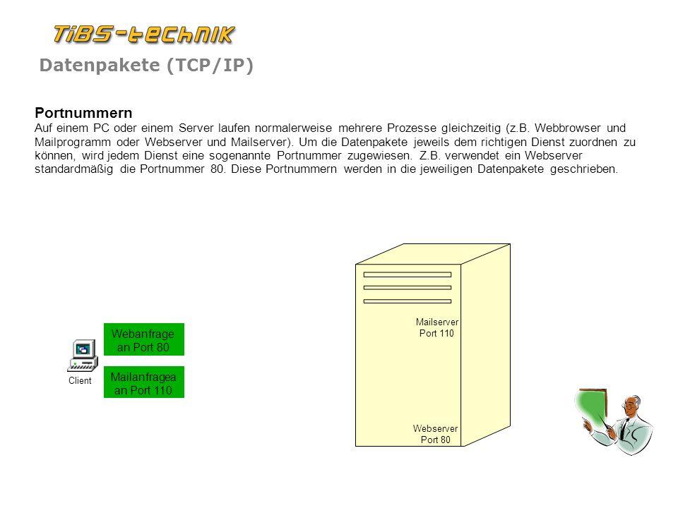 Portnummern Auf einem PC oder einem Server laufen normalerweise mehrere Prozesse gleichzeitig (z.B. Webbrowser und Mailprogramm oder Webserver und Mailserver). Um die Datenpakete jeweils dem richtigen Dienst zuordnen zu können, wird jedem Dienst eine sogenannte Portnummer zugewiesen. Z.B. verwendet ein Webserver standardmäßig die Portnummer 80. Diese Portnummern werden in die jeweiligen Datenpakete geschrieben.