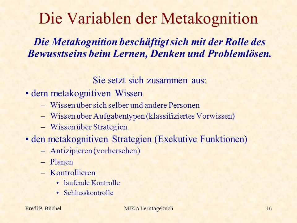 Die Variablen der Metakognition