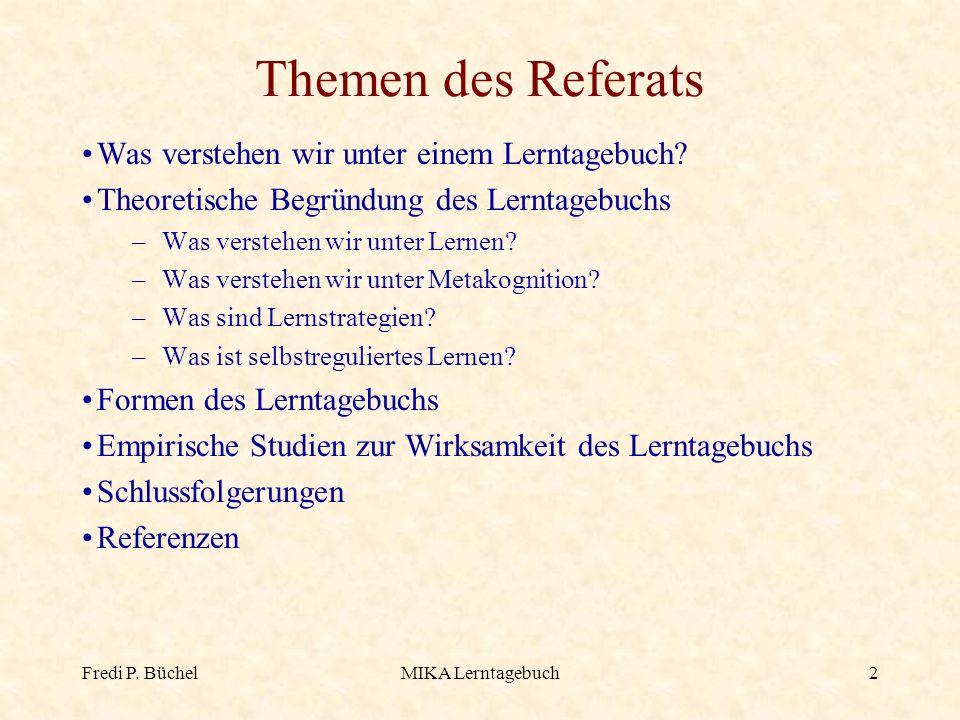 Themen des Referats Was verstehen wir unter einem Lerntagebuch