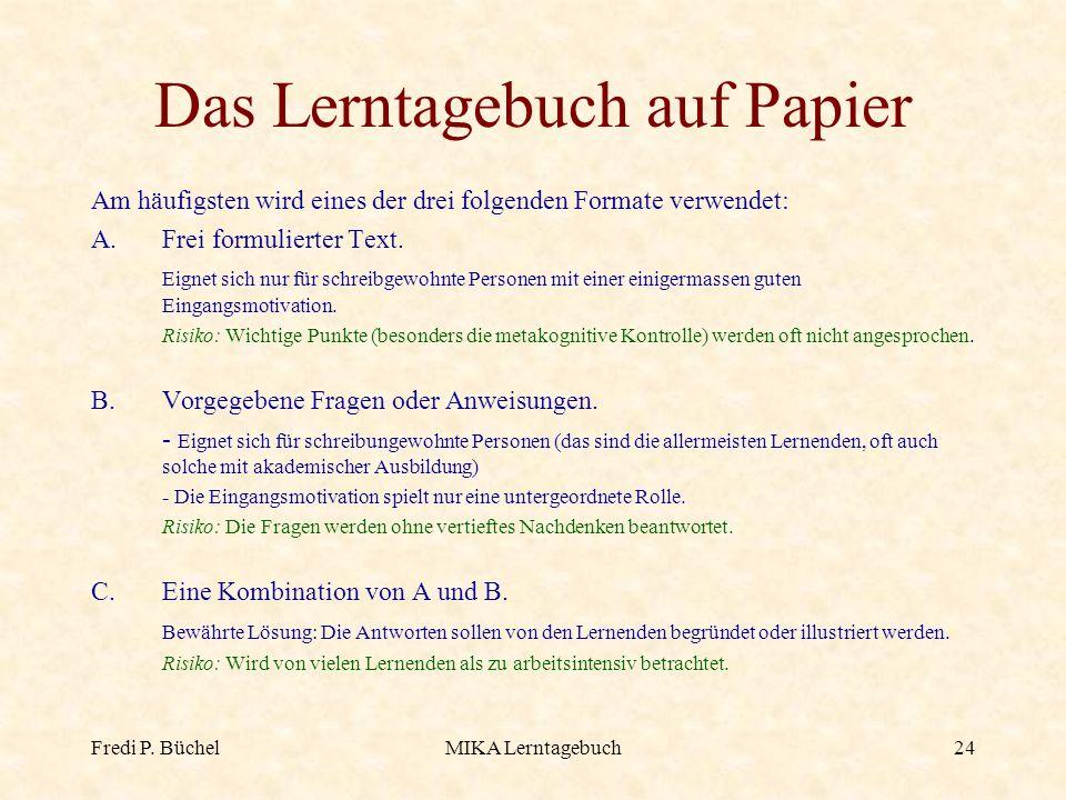 Das Lerntagebuch auf Papier