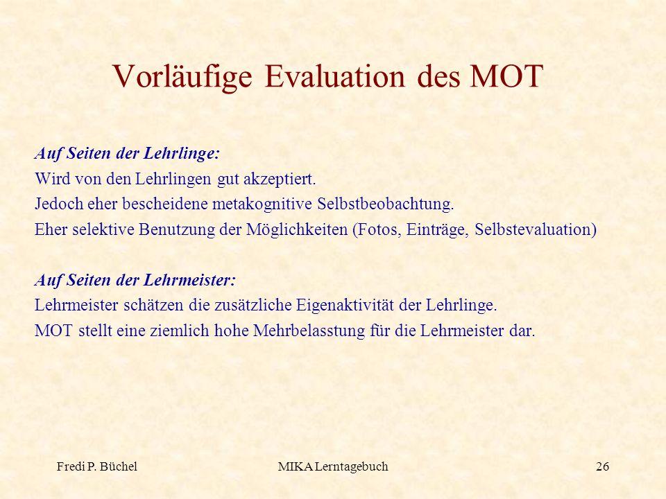 Vorläufige Evaluation des MOT