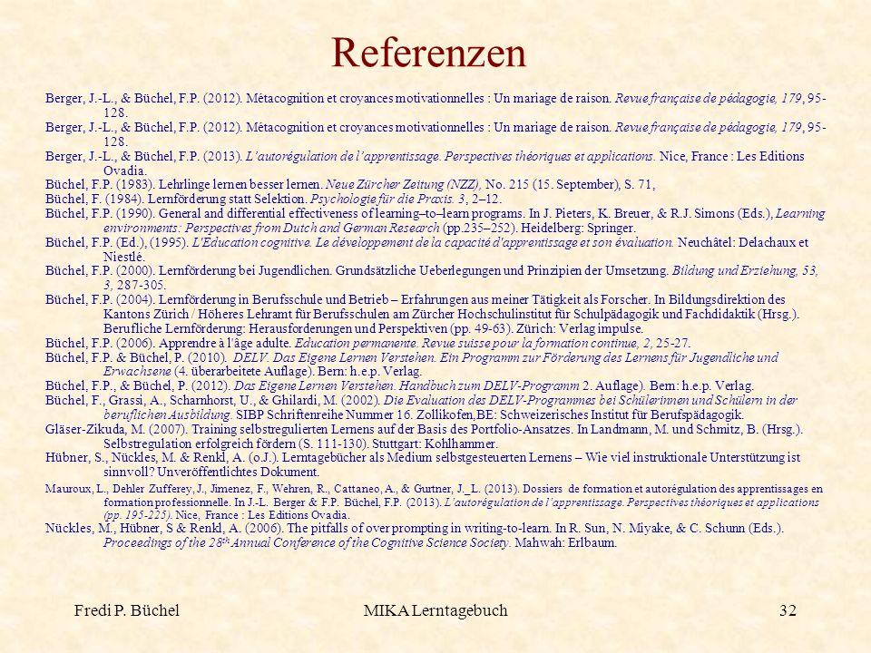 Referenzen Fredi P. Büchel MIKA Lerntagebuch