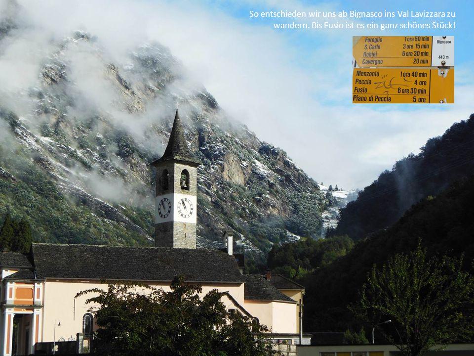 So entschieden wir uns ab Bignasco ins Val Lavizzara zu wandern