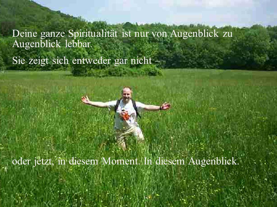 Deine ganze Spiritualität ist nur von Augenblick zu Augenblick lebbar.