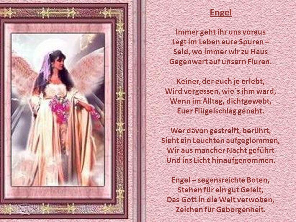 Engel Immer geht ihr uns voraus Legt im Leben eure Spuren –