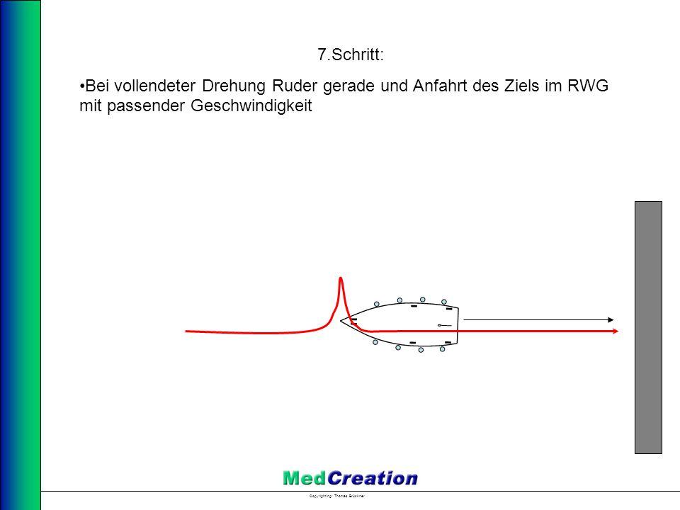 7.Schritt: Bei vollendeter Drehung Ruder gerade und Anfahrt des Ziels im RWG mit passender Geschwindigkeit.