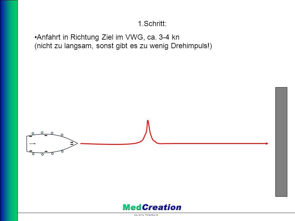 1.Schritt: Anfahrt in Richtung Ziel im VWG, ca. 3-4 kn (nicht zu langsam, sonst gibt es zu wenig Drehimpuls!)