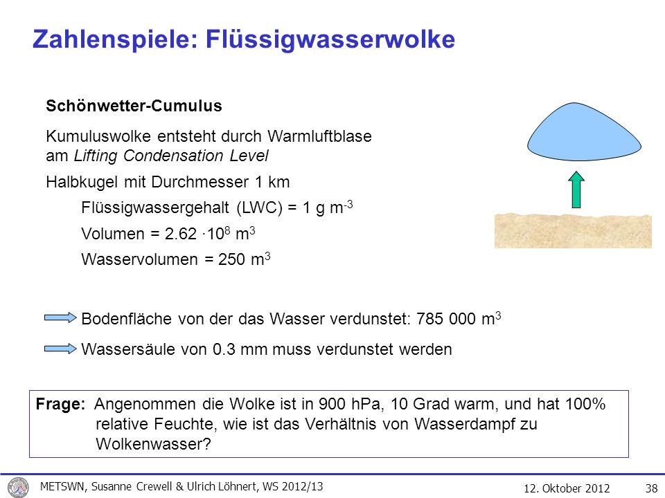 Zahlenspiele: Flüssigwasserwolke
