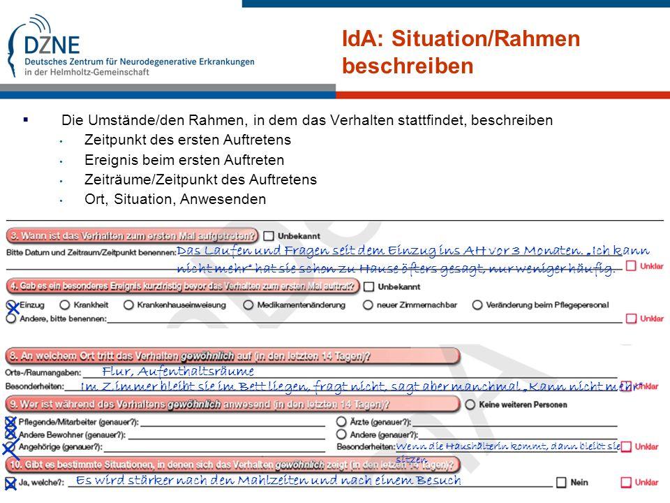 IdA: Situation/Rahmen beschreiben