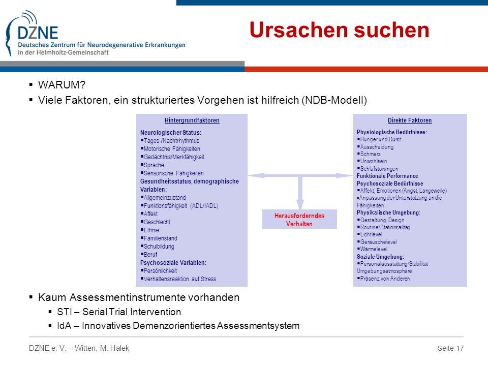 Ursachen suchen WARUM Viele Faktoren, ein strukturiertes Vorgehen ist hilfreich (NDB-Modell) Kaum Assessmentinstrumente vorhanden.