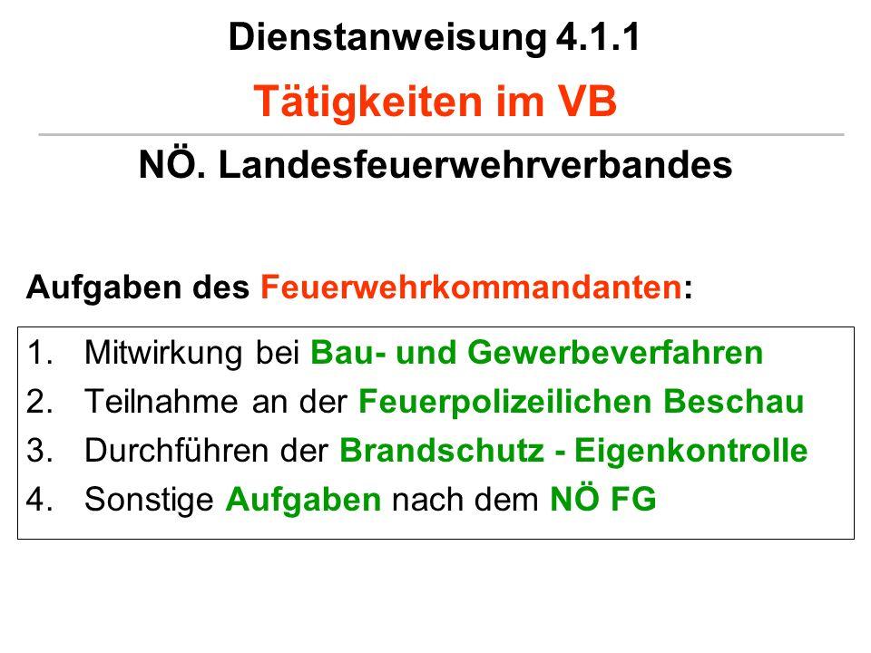 Dienstanweisung 4.1.1 Tätigkeiten im VB NÖ. Landesfeuerwehrverbandes