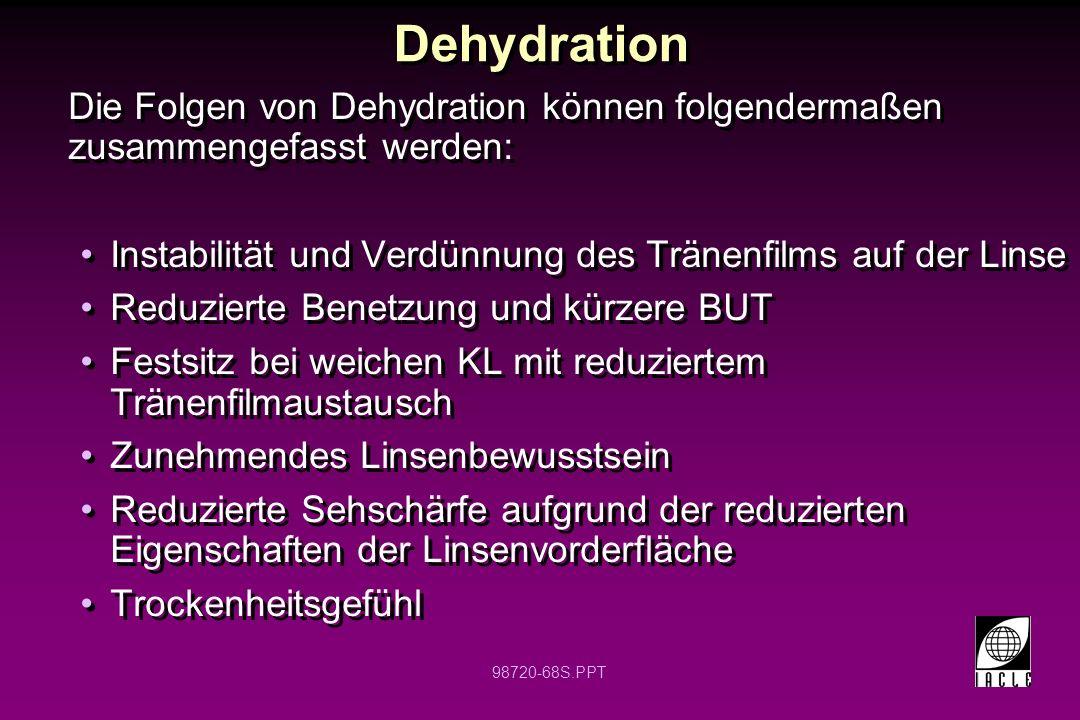 Dehydration Die Folgen von Dehydration können folgendermaßen zusammengefasst werden: Instabilität und Verdünnung des Tränenfilms auf der Linse.