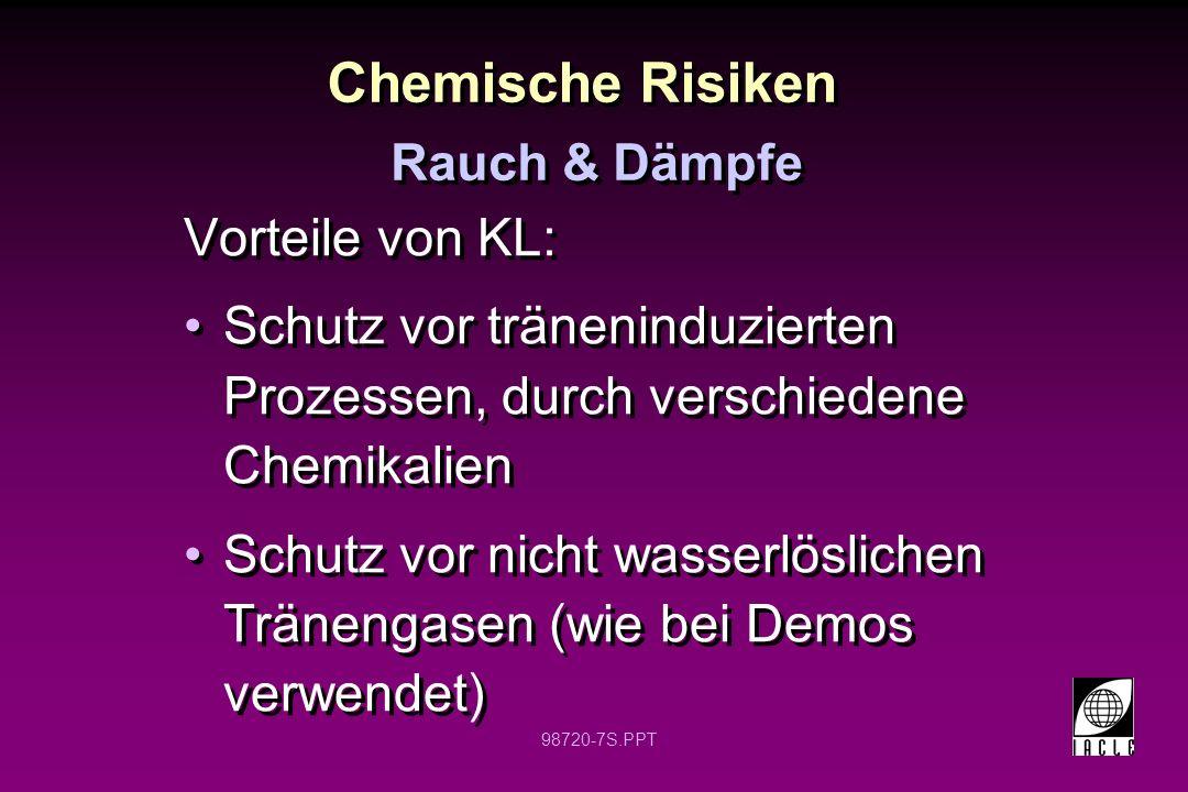 Chemische Risiken Vorteile von KL: