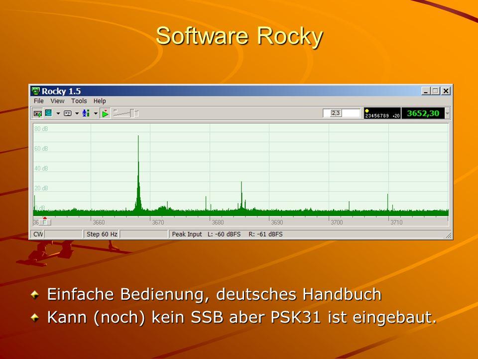 Software Rocky Einfache Bedienung, deutsches Handbuch