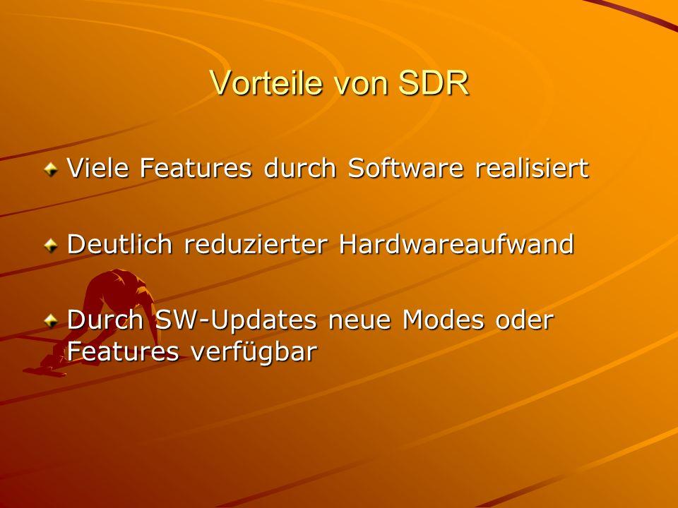Vorteile von SDR Viele Features durch Software realisiert