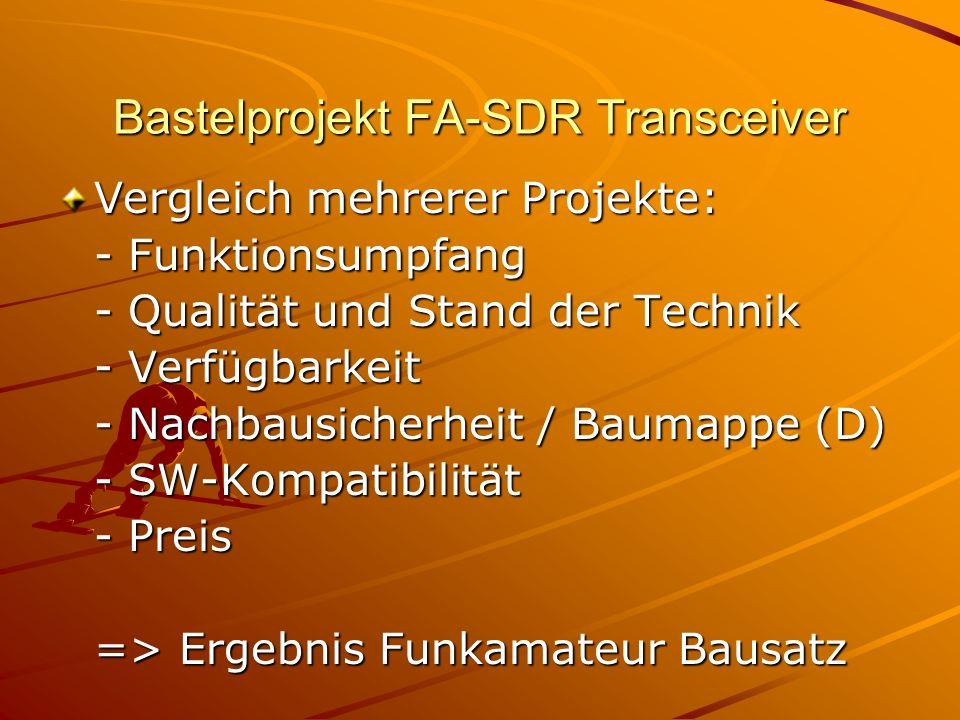 Bastelprojekt FA-SDR Transceiver