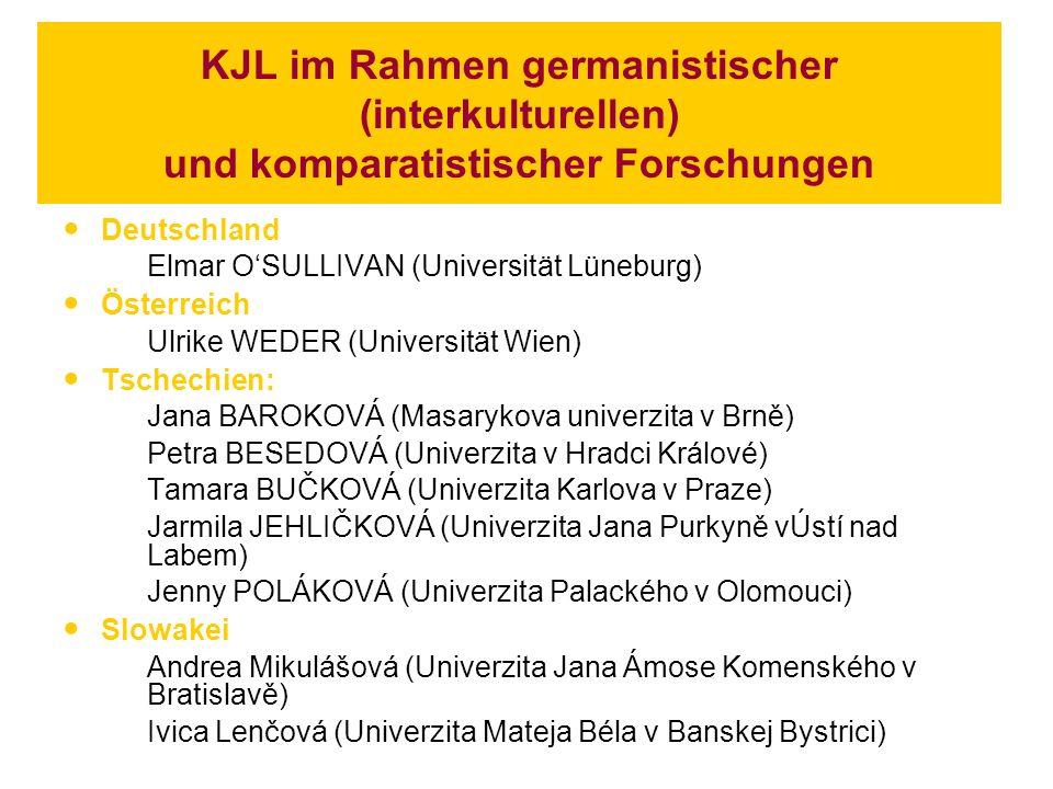 KJL im Rahmen germanistischer (interkulturellen) und komparatistischer Forschungen