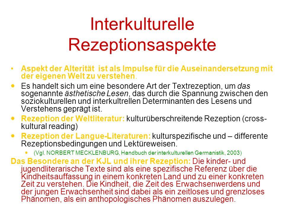 Interkulturelle Rezeptionsaspekte