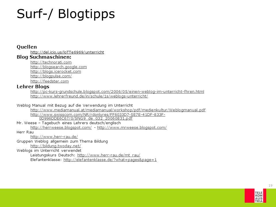 Surf-/ Blogtipps Quellen Blog Suchmaschinen: Lehrer Blogs