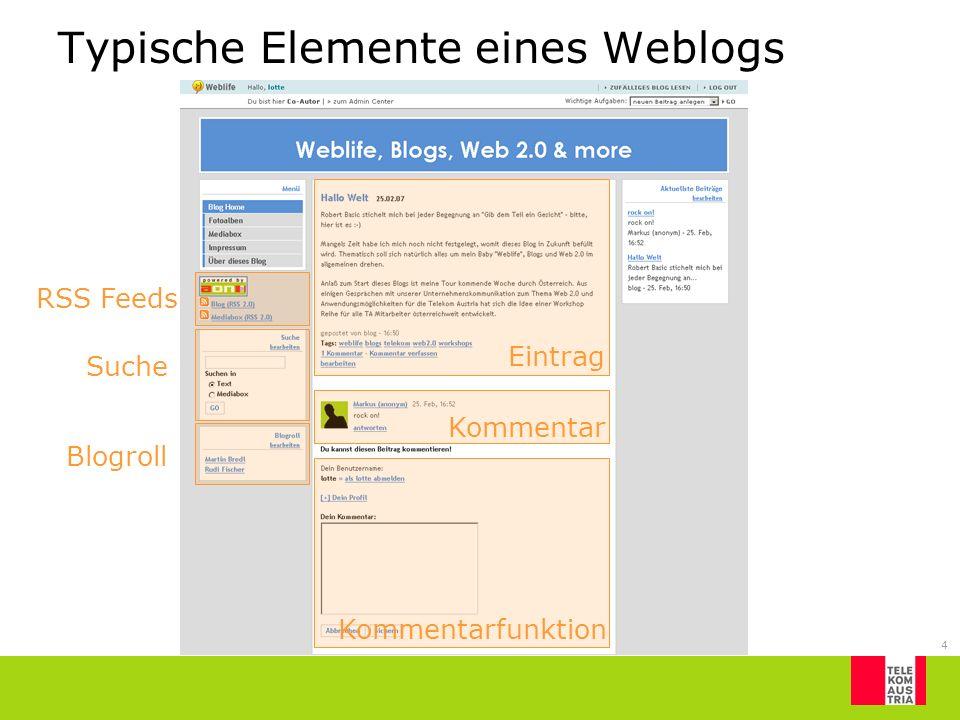 Typische Elemente eines Weblogs