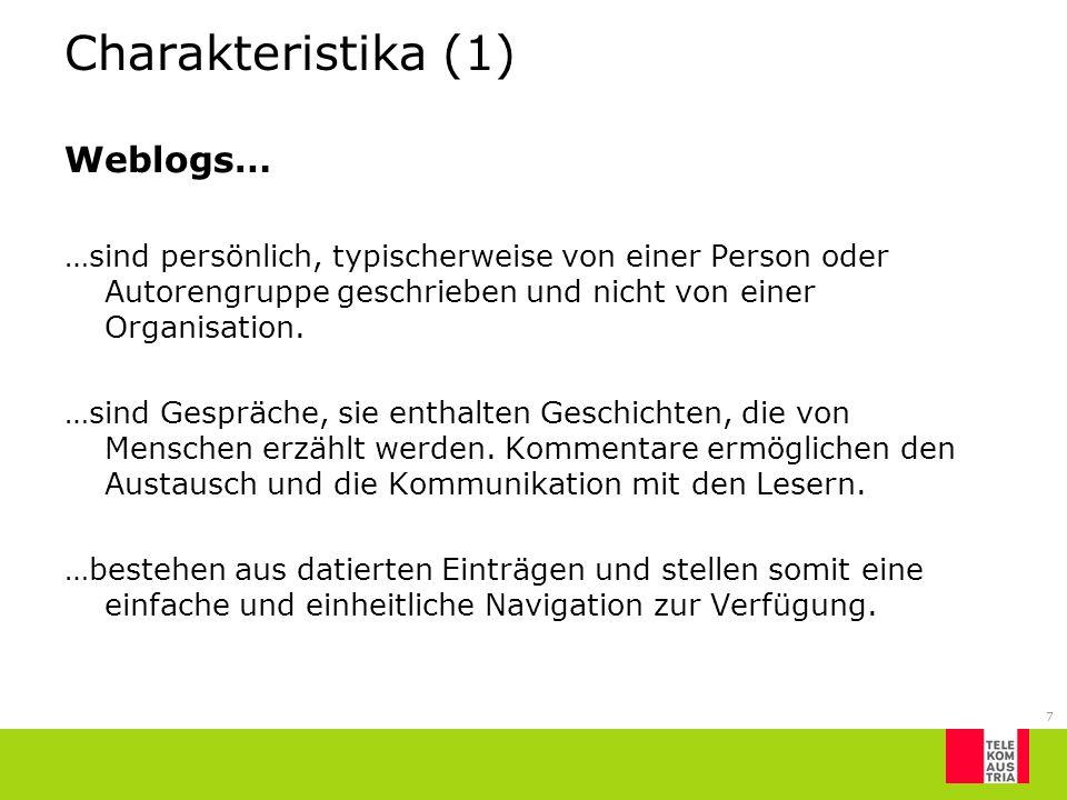 Charakteristika (1) Weblogs…
