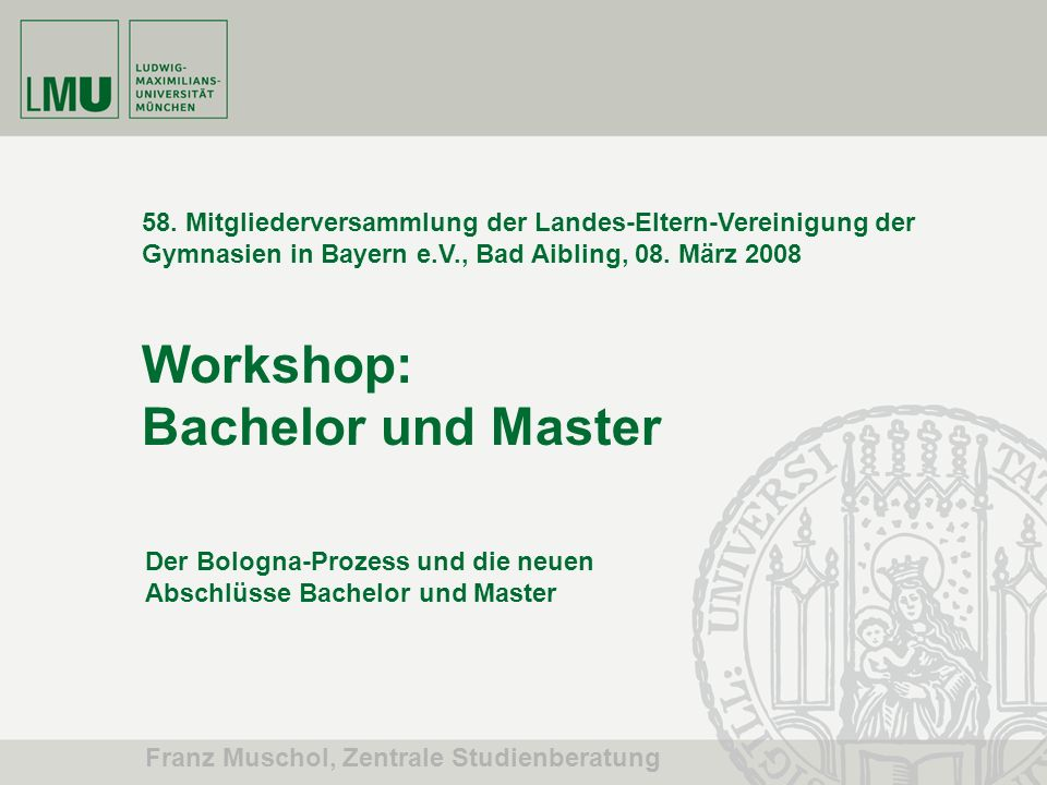 Workshop: Bachelor und Master