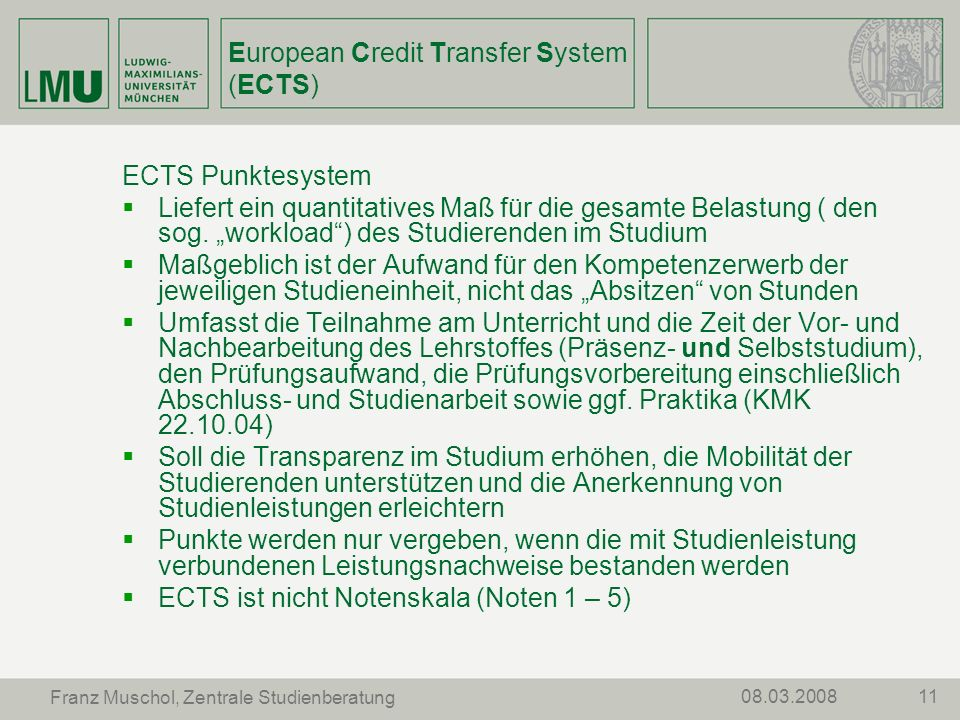 European Credit Transfer System (ECTS)