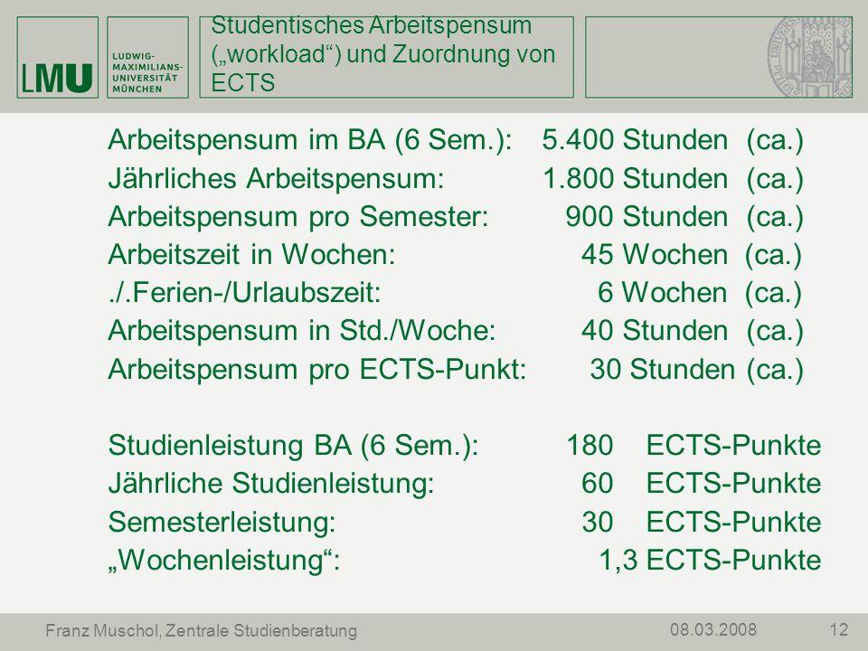 """Studentisches Arbeitspensum (""""workload ) und Zuordnung von ECTS"""