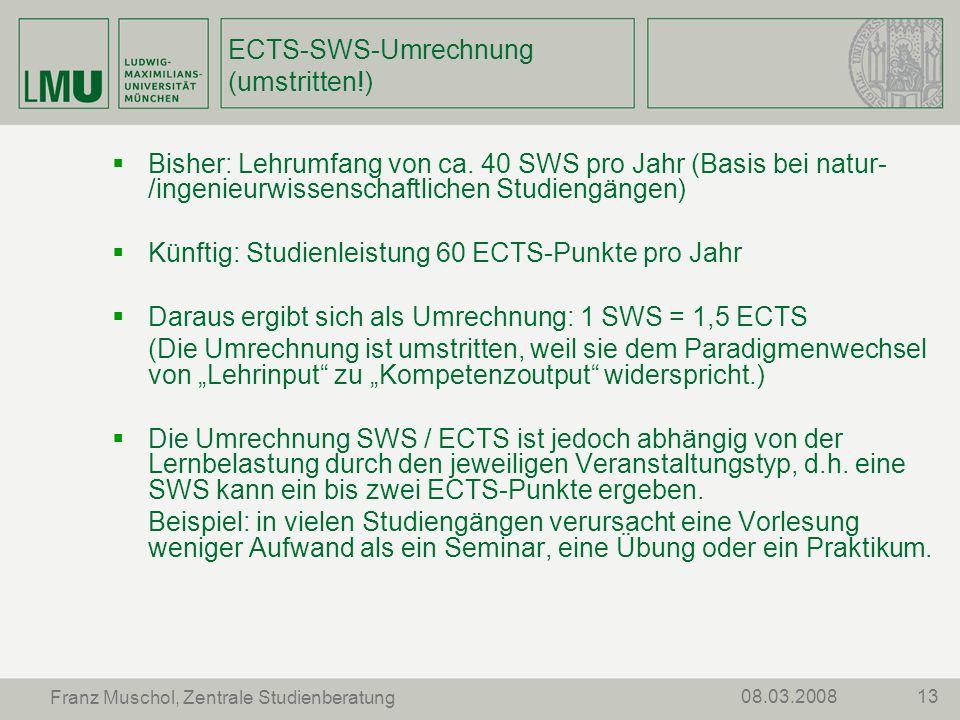 ECTS-SWS-Umrechnung (umstritten!)