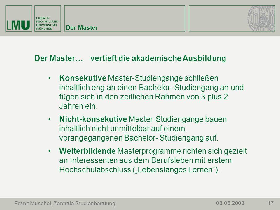 Der Master… vertieft die akademische Ausbildung
