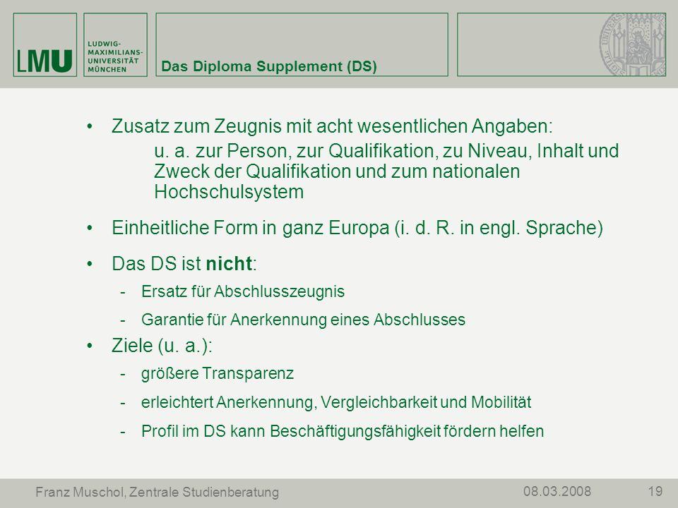 Das Diploma Supplement (DS)