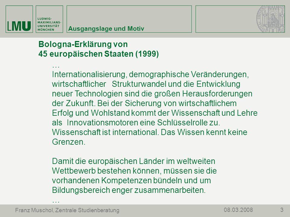 Bologna-Erklärung von 45 europäischen Staaten (1999)